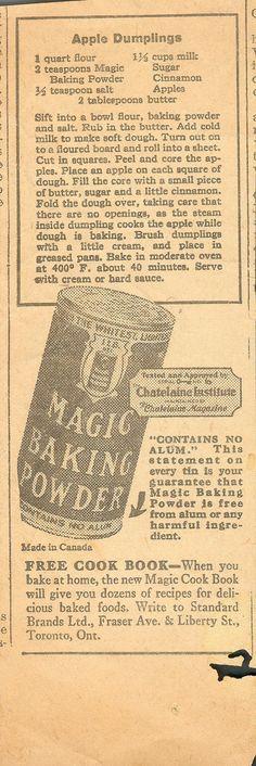 https://flic.kr/p/7xSXja   Magic Baking Powder Apple Dumplings - 1930'a