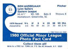 1980 TCMA Lynn Sailors #23 Ron Musselman Back