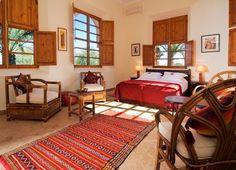 Villa El Goute - Book this luxury Villa in Marrakech, Morocco through Villas In Luxury. Bedroom Colors, Colourful Bedroom, Slide Images, Marrakech Morocco, Luxury Villa, Wooden Doors, Swimming Pools, Moroccan, Home Decor