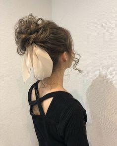 お団子アレンジ♡ in 2020 Scarf Hairstyles, Pretty Hairstyles, Wedding Hairstyles, Curly Hair Tutorial, Birthday Hair, Hair Arrange, Elegant Wedding Hair, Hair Shows, Aesthetic Hair