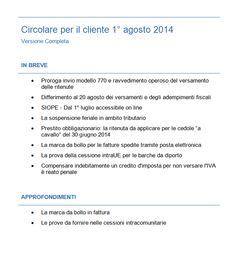 Circolare n.15 del 01-08-2014 Fisco e contabilità