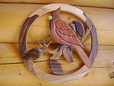 Cardinal Bird Intarsia Wood Art - Wood Decor Wall Hanging - NEW