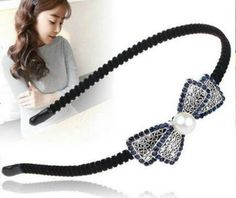 Stone Embellished Double Bow With Pearl Charm Metal Hairband