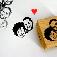 This custom portrait rubber stamp is made from your photo!  Use it on wedding invitations, favor tags, and more for a personal touch. | http://emmalinebride.com/invites/custom-portrait-rubber-stamp/