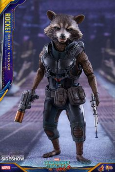 Hot Toys Rocket Raccoon Vol. 2 Deluxe Figure Is A Proud Papa To Our Baby Groot Toys  #GOTG2 #hottoys #marvel If there's a summer blockbuster on the way, you can always count on Sideshow and Hot Toys to roll out a finely crafted collectible statue to part us...