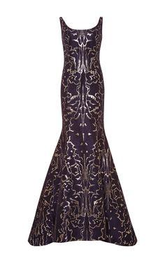 Metallic-Jacquard Gown by Oscar de la Renta Now Available on Moda Operandi