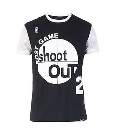 "POST+GAME+Jersey+style+tee+Mesh+sleeves+POST+GAME+SHOOT+OUT+graphic+on+front+Number+2+on+back+""BIRDIE""+lettering+on+back"
