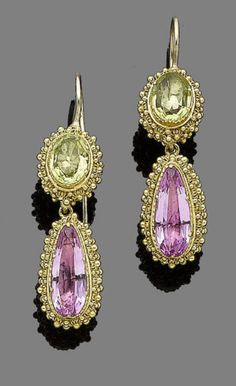 A pair of gold and gem-set pendent earrings, circa 1830  The foiled oval-cut peridot within a bombé gold cannetille mount, suspending a similarly-set pear-shaped pink topaz, in closed-back settings, length 4.3cm, cased by B.W. Fase & Co., Jewellers and Silversmiths, 50, Oxford Street, W.