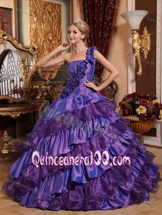 Ruffled Floral One Shoulder Purple Quinceanera Dresses with Asymmetrical Ruffles