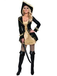 Dit barok piraten kostuum voor vrouwen zal perfect zijn als carnavalskleding om in de huid te kruipen van een echte piraat! - Nu verkrijgbaar op Vegaoo.nl