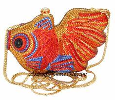 Swarovski Crystal Purse Evening Bags Handbags AD82 Gold Fish Swarovski Crystal Clutch Purses, Evening Bags, Leather Purses, Jewelry