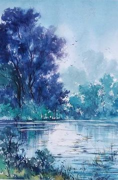 Watercolor Landscape Paintings, Watercolor Projects, Watercolor Trees, Watercolor Artwork, Landscape Art, Watercolour, Water Paint Art, Cool Art Drawings, Art Background