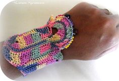 Pastel Freeform Crochet Cuff by LionessXpressions on Etsy, $28.00