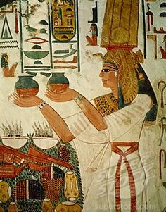 Nefertari Presenting the Offering B. Egyptian Art Mural painting Valley of the Kings, Thebes, EgyptPallas Athena via Nancy Shogren. Ancient Egypt Art, Old Egypt, Ancient Artifacts, Ancient History, Art History, European History, Ancient Aliens, Ancient Greece, American History