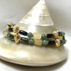Beaded Bracelet Green Bead Bracelet Serpentine by marilyn1545, $5.00