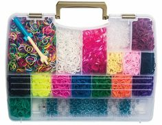 Amazon.com : Loom & Band Organizer and Travel Case with Handle- Fits Rainbow Loom Base or Cra-z-loom, and Over 7, 500 Rubber Bands, Charms a...