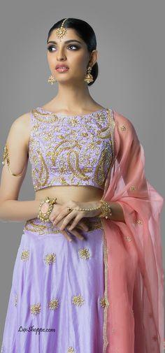 Lavender & Blush Crop Top Lehenga Shilpa Reddy Studio