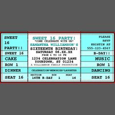 Custom Concert Ticket Invitation One by DesignsMadeSimple on Etsy