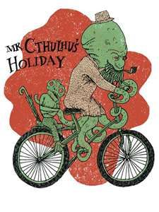 It's a cthulhu.... riding a bicycle.... smoking a pipe. Classy.