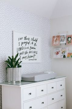 Millie's Neutral Baby Girl Nursery on Project Nursery Spotted Wallpaper, Baby Girl Nursery Decor, Statement Wall, Project Nursery, Changing Pad, Grey And White, Cribs, Neutral, Room Decor