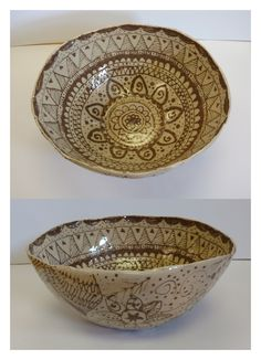 Slip trailed molded bowl by Maria V
