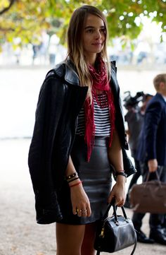 LE FASHION BLOG PFW PARIS FASHION WEEK STREET STYLE STRIPE TEE LEATHER SKIRT RED DRAPED TASSEL SCARF LEATHER MOTO JACKET HIGH WAIST WAISTED ...