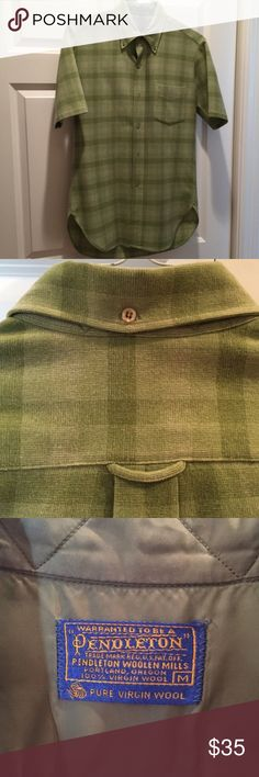 MENS Vintage Pendleton Shirt Made in the USA. 100% virgin wool. Short sleeves in shades of green. One front patch pocket. Back hanging loop and button collar. Shirttail hem. Best color representation is in the first photo. This has been well stored for years. No odd smells or issues. Pendleton Shirts Casual Button Down Shirts