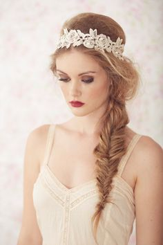 Ariel+++Light++Blush++Flower+Headband+Lace+Bridal+by+BrideLaBoheme,+$85.00