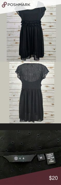 """6 x 6 Sheer Eyelet Dress 6 x 6 Urban Outfitters Dress Sheer Eyelet Short Sleeve Black Size M. Gently used, no flaws found. Camisole slip is removable.?  Approximate measurements lying flat:  Length 33"""" Underarm to Underarm 17"""" Urban Outfitters Dresses Mini"""