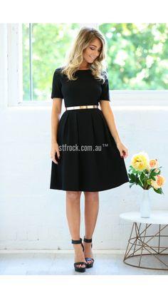 Chasing Kate Elizabeth Mid Length Dress in Black- Size 16