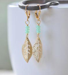 Gold Leaf and Sea Foam Green Dangle Earrings by RusticGem