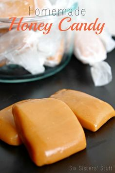 Honey Candy Homemade Honey Candy from SixSistersStuff.Com, just in time for the start of the holiday season!Homemade Honey Candy from SixSistersStuff.Com, just in time for the start of the holiday season! Just Desserts, Delicious Desserts, Dessert Recipes, Yummy Food, Desserts With Honey, Dessert Healthy, Honey Recipes, Sweet Recipes, Bit O Honey Recipe