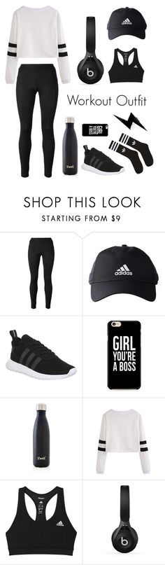 """""""Workout Outfit"""" by aajd ❤ liked on Polyvore featuring Versace, adidas, S'well and Beats by Dr. Dre"""