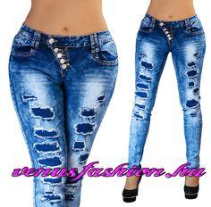 11c6bd6721 Divatos női szaggatott farmer nadrág XS S M L XL méretekben - Venus fashion  női ruha webáruház Csőfarmer