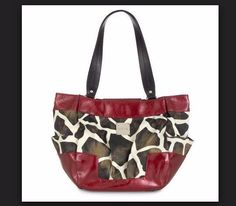997c59476ec Joella (Demi): Giraffe-print faux leather features super-shiny wrap-around  red patent accents along the bottom and top.