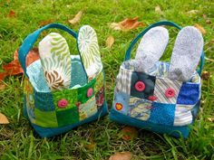 Love these patchwork bunny Easter baskets