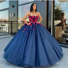 Princess Ball Gown Prom Dress 2020 Hand Made Flowers Party Gown Plus Size Puffy Evening Dresses Long Vestidos De Fiesta De Noche photo ideas from Dresses for Women Royal Blue Prom Dresses, Blue Ball Gowns, Quince Dresses, Ball Gowns Prom, Party Gowns, Ball Dresses, Evening Dresses, Formal Dresses, Navy Blue Quinceanera Dresses