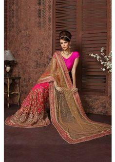 rose net couleur pallu avec jupe embroidrey net avec embroidrey avec saree intérieure, - 299,00 €, #Sariindien #Tenuebollywood #France #Shopkund