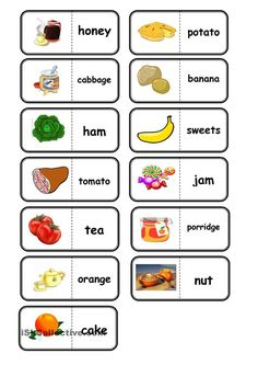 food, domino - English ESL Worksheets for distance learning and physical classrooms Learning English For Kids, Kids English, English Food, English Lessons, Teaching English, Learn English, English Vocabulary, English Grammar, English For Beginners