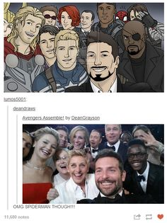 Avengers copying the famous Oscar selfie. (Note Spider-man and Loki squeezing in...)