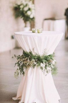 white and greenery wedding cocktail table decoration ideas