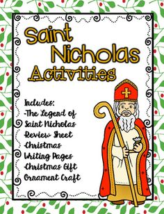 saint nicholas activities legend sheet review sheet writing pages and craft
