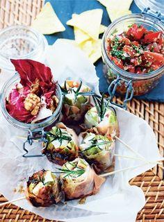 1. opskrift til picnic: Figner med gedeost, radicchiosalat og tomatsalsa