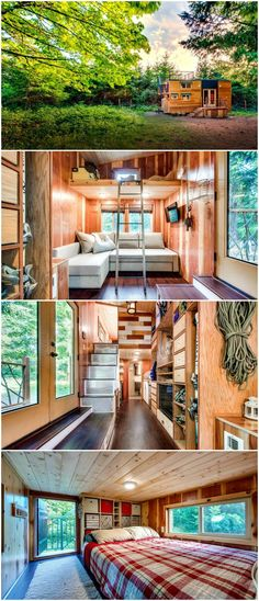 The Basecamp is a gorgeous tiny house built by Backcountry Tiny Homes.  The 204-square-foot tiny house features a large rooftop deck, lots of storage for their outdoor gear, and accommodations for owners' dogs. The house uses locally sourced redwood, poplar, mahogany, black walnut, pine, maple, and cedar.