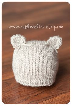 Delicate Knit Kitten Newborn Hat with Bows by ekplovelies