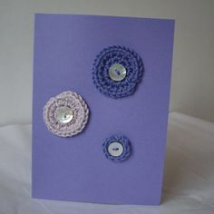 Purple-Mauve Crochet Circle Card with MOP Buttons £2.00