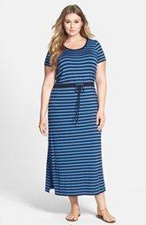 MICHAEL Michael Kors de la raya del lazo de la cintura del Knit del estiramiento Vestido Maxi (Plus Size)