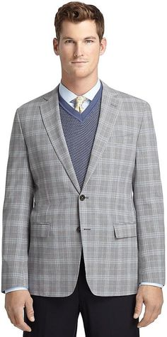 Fitzgerald Fit Grey Plaid with Blue Deco Sport Coat