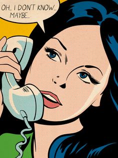 "Comic Girls Say.."" oh I don't know..Maybe"". #comic #popart"