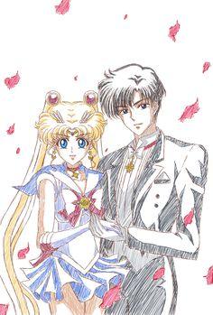 Usagi x Mamoru ♡ Sailor Moon and Tuxedo Mask / Princess Serenity and Prince Endymion | Sailor Moon - Sailor Moon Crystal #SM #SMC #Anime #Manga